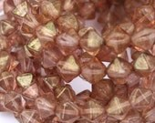 6 mm Blush Pink Bicone Luster Czech Beads