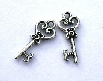 10 Antique Silver Heart Key Charms/Pendants