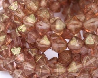 6 mm Blush Pink Bicone Luster Czech Beads