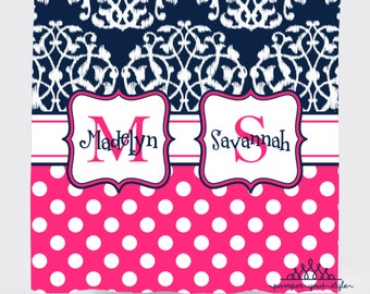 Ikat and Polka Dot Personalized Shower Curtain - Teen Shower Curtain - Navy and Pink Shower Curtain