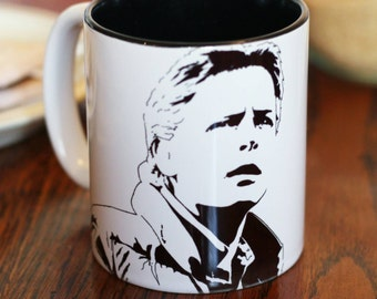 Michael J Fox, Marty McFly, Family Ties, Back To The Future, Spin City ,  Hand Printed cup