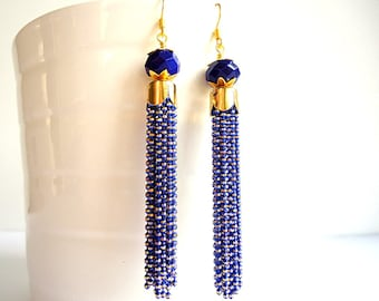 Blue Tassel Earrings, Cobalt Blue earrings, Drop earrings, Chain earrings, 2016 trends, Dangle earrings, long earrings, royal blue earrings
