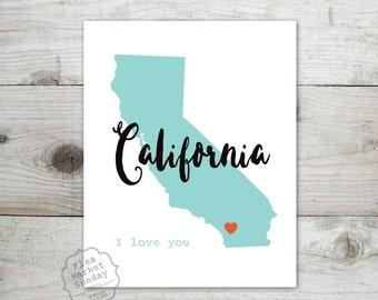 California I Love You Print -  8 x 10