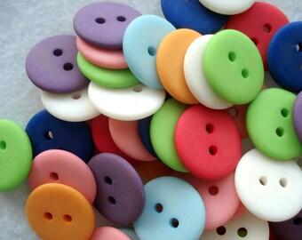 15mm Resin Buttons Pk of 25 Mixed Colours A145 Matte Buttons