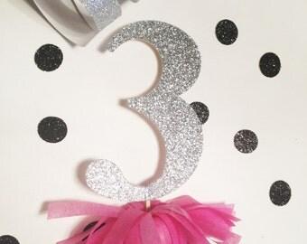 Silver Gold Glitter Birthday Cake Topper Cupcake Topper Fringe Tassle 1st 2nd 3rd 4th 5th