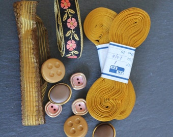 SALE 50 OFF Vintage Trim Button Kit Sewing Supply Lot Yellow Pink Inspiration Set