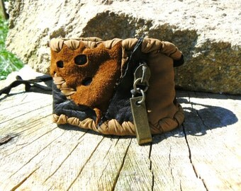 Recycled, Brown and black leather bracelet