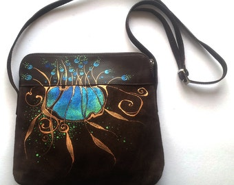 Brown leather Handbag - painted - gift - accessory - ON ORDER ONLY - blue - copper - green - gold - black - leather bag