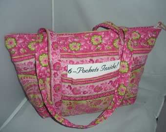 Pink Quilted Purse with zipper and 6 pockets