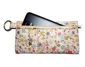 White Sakura Cherry Blossom Quilted Fabric Case - Zipper Pouch - Phone Case - Makeup Bag - Craft Bag - Glasses Case - Snack Bag - Gadget Bag