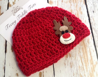 Sweet Christmas Beanie - baby beanie - baby beanie hat - crochet beanie hat - Christmas Beanie Hat