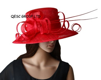 Red sinamay hat church hat for Kentucky derby,wedding races Melburne cup