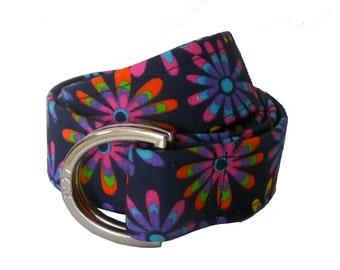 Fabric Belt/ Woman's D-Ring Belt/ Canvas Belt/ Preppy Belt/ Cloth Belt/ Flower Power D-Ring Belt