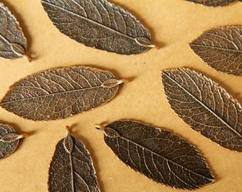 5 pc. Antique Copper Leaf Pendants, 44mm x 18mm | MIS-040