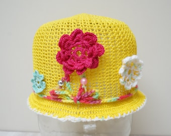 Girl hat summer beanie beret cap crochet knit yellow Rose Flower handmade cotton sun beach knitting hats green pink flower floral young lady