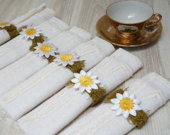 Linen napkins with rings Doilies coaster flower set of 6 six woven flower mat square floral white table placemat flax yellow green