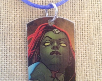 Mystique upcycled comic book dog tag, includes necklace or key ring