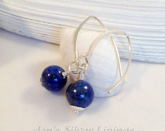 Sterling Silver and Blue Lapis Lazuli Dangle Earrings, Hand Forged Hammered Marquise Ear Wires
