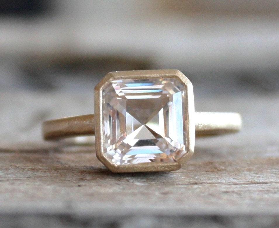 Asscher Cut White Sapphire Bezel Ring in 14K Yellow Gold