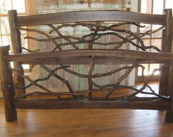 Rustic, Hand Crafted Bed Made With Reclaimed Wood and Mountain Laurel