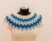 Hand knitted wool vest form Icelandic wool Lett-Lopi yarn.
