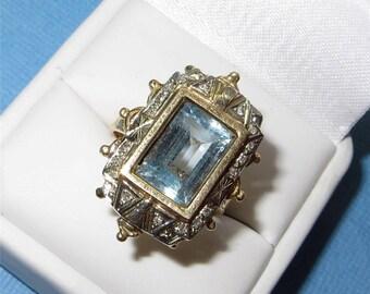 Art Deco 14K Gold Aquamarine Diamond Ring c1910