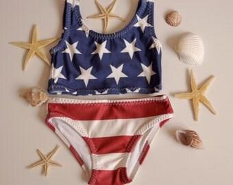 Baby girl towe pieces swimwear-American Flag top and matching bottoms-American Flag girls bikini set -Children swimwear -July 4th swimwear