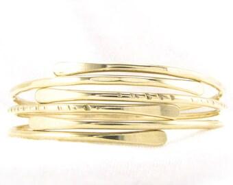 Bangle BrAcELeT SeT: THREE (3) Gold Stackable Bracelets 1 Each Of Hammered Notched & Smooth Bracelets Stacking Bracelet Set Custom Sizes