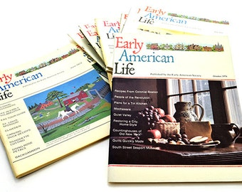 Vintage Early American Life Magazine Lot Collection of Twelve (12) Early American Society Colonial Crafts Heritage Interiors Home Schooling