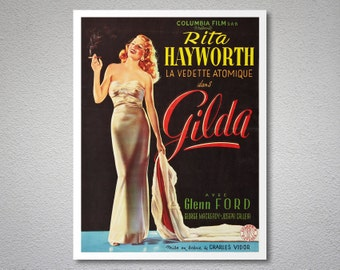 Gilda Movie Poster - Rita Hayworth - Poster Paper, Sticker or Canvas Print