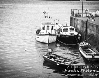 Silent Boy Fishing Boats at Irish Dock in Atlantic Ocean - Scenic Ireland Photography in Black and White
