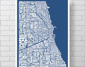 Chicago Neighborhood Map Print - Custom Chicago Typography Map with Landmarks, Various Colors, Type Map Art Print Poster