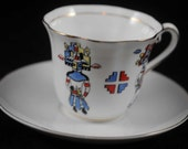Native American Design Teacup and Saucer, HOPI KACHINAS Pattern, Kent Bone China
