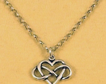 Sterling Silver Infinity Heart (Everlasting Love) Pendant on a Sterling Silver 3mm Rolo Necklace - 1419