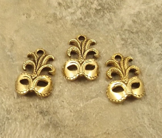 Three (3) Gold Tone Pewter Mardi Gras/Masquerade Mask Charms - 5028