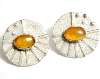 Galaxy Sun Earrings Contemporary Modern Industrial Amber Sterling Silver 925 Marked Earrings Vintage Collectible Jewelry For Women