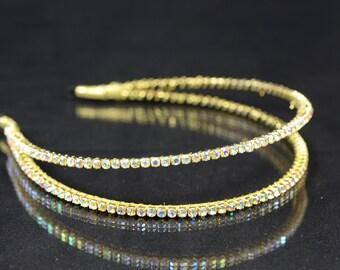 Gold Rhinestone Bridal Hair Piece,Grecian Double Bridal Headband, Bridal  Tiara, Crystal crown, Bridal Hair Accessory, Bride Halo