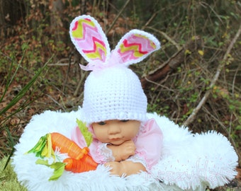 Crochet white bunny hat. Made to order.