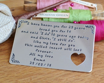 Hand Stamped aluminium personalised wallet credit card insert