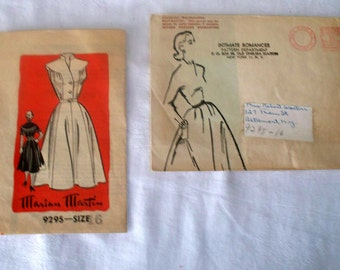 1950s Marian Martin Dress Pattern - 9295 - Size 16  - Cut Complete