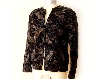 Vintage Black Jacket velvet decorated with gold flower design , 80's  Black Jacket velvet XL , Oversized  Black Jacket.