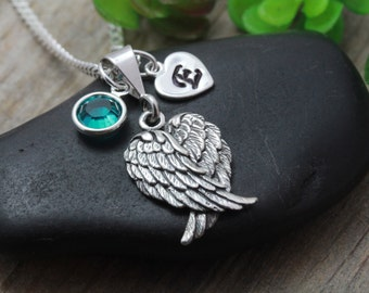 Guardian Angel wings Necklace, Sterling silver wing, Personalized initial & Birthstone, Lost love one, Sweet sixteen, Protecting Necklace.