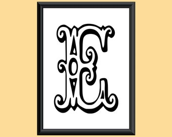 Typography DIGITAL PRINT Monogram Initial Wall Art Tropicana Letter E 5x7