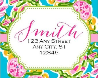 Preppy Turtles Tropical Labels Stickers for Party Favors, Gift Tags, Address Labels