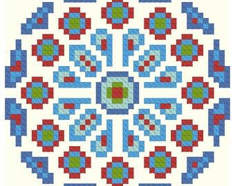 Rose Window Cross Stitch Pattern (INSTANT DOWNLOAD)