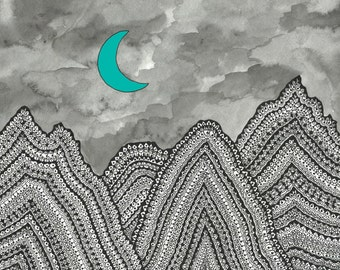 Moon and Mountains Art Print