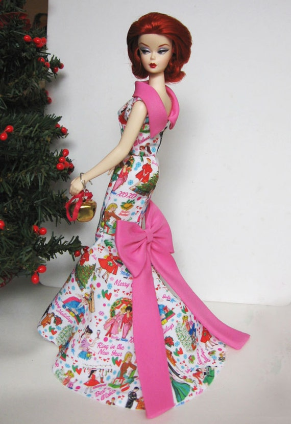 Silkstone Barbie Happy New year Merry Christmas evening Gown Mermaid dress with Vintage prints