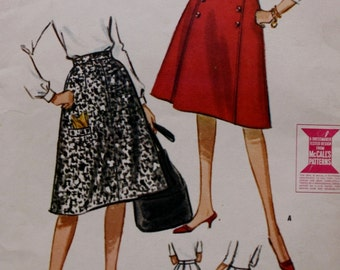 1960's Two or Six Gore Flared Skirt Set McCall's 6488 Vintage Sewing Pattern UNCUT