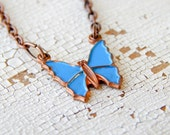 Butterfly necklace / vintage butterfly necklace / upcycled vintage / upcycled butterfly / copper butterfly / hand painted / tiny butterfly