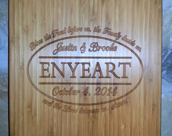 Personalized Custom Bamboo Cutting Board - Name Cutting Board - Kitchen Carving Board -  Wedding Annivrsary Gift - 15.5 X 11.5  inches